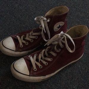 Maroon converse sneakers